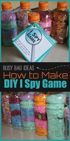 DIY I Spy Bottles - these super clever, easy to make, I Spy Games is a great busy bag idea or road trip games for preschool, kindergarten, and first grade kids as a summer activity for kids or kids activities for all year long. Spy Games For Kids, Camping Activites For Kids, Summer Activities For Toddlers, School Age Activities, Babysitting Activities, Camping Crafts, Toddler Activities, Preschool Activities, Diy For Kids