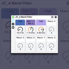 Using Ableton Live's Audio Effects rack and 4 audio chains, each with an instance of EQ 8, we can set up a customizable 4 band filter & make a preset.