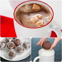 "DIY Hot Chocolate balls 12 ounces semi sweet chocolate chips, 1 cup heavy cream, 1/4 t. salt. Microwave 2 min, stir half way. Mix well, cover with plastic and chill until firm;  Form mixture into 3Tablespoon 2"" balls.  Wrap each ball in plastic wrap and refrigerate for up to 5 days or freeze for 2 months.  To make add 1 ball to 1 cup milk and microwave for about 2 minutes or until hot."