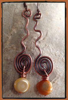 Copper swirl and fresh water pearls earrings by LjBlock Designs