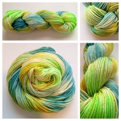 CITRUS TWIST ~ The silk makes this skein the softest worsted weight skein I have every laid hands on - out of this world awesome. LOVE!Color(s): teal, golden yellow, lime green I use only professional grade dyes) Fiber(s): 60% Merino / 40% Cultivated SilkWeight: worstedLength/yardage:  /- 270 yards