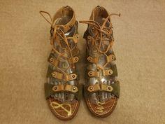 82aa221c6fe01 Sam Edelman Dante Women Brown Gladiator Flats Lace Up Sandals Shoes Size 7 M