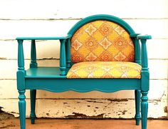 upcycled furniture; coffee table becomes telephone table bench, add seat cushion and back and spindles and another wooden table top; upcycle, recycle, salvage, diy, repurpose!  For ideas and goods shop at Estate ReSale & ReDesign, Bonita Springs, F