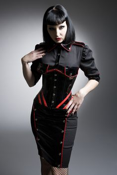 Gothic goth - Black and red pcv uniform skirt shirt corset