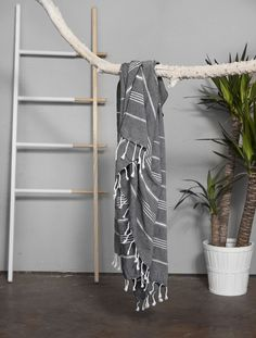 The Turkish towel. As authentic and versatile as they come, Turkish towels date back centuries. Perfect for bath, home and adventure. Take it to the beach, drape yourself with it as scarf, shawl or sa Turkish Bath, Turkish Towels, Bathroom Towel Decor, Yoga Towel, Curtain Designs, Decorative Throws, Table Covers, Drapes Curtains, Beach Towel