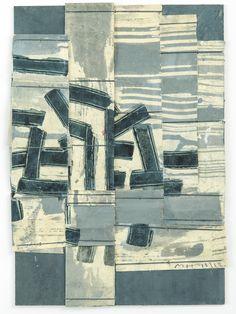 Mayfair gallery specialising in ceramics & modern art. Collages, Collage Art, Textile Fiber Art, Textile Artists, Indigo, Textiles, Japanese Paper, Illustrations, Mixed Media Art
