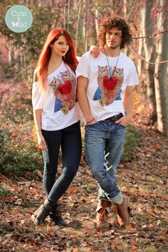 "Our cute Model Gaby Ltm & our wild Male Model Steven Reti with our ""Twin Owls"" tees. Available very soon!  https://www.facebook.com/cuteandwildclothing http://instagram.com/cuteandwildclothing"