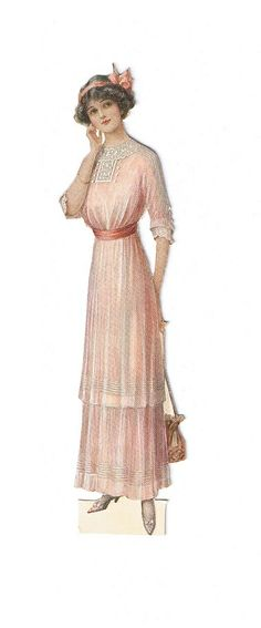 Vintage lady fashion, woman in light pink dress with stripes, laces and a pink bow in her hair