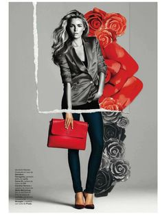 Etiqueta RoJa | Valentina Zelyaeva |  Gonzalo Machado #photography | Harper's Bazaar Spain April 2012 #mixed_media #collage