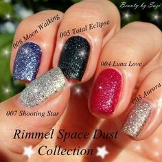 Rimmel Space Dust Collection #blue #red #black #shimmer #holidaynails #nails #nailart #polishaddict #nailpolish #naillacquer - bellashoot.com #glitter #partynails