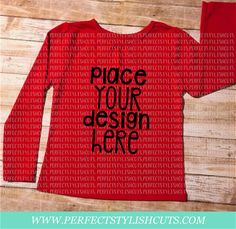 Red Toddler Girl Shirt Long Sleeve MOCK-UP by PerfectStylishCuts