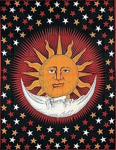 Handmade Cotton Celestial Sun Moon Star Tapestry Coverlet Twin Orange Red 70x104