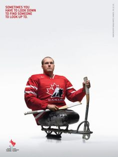 The Print Ad titled Canadian Paralympic Committee: Sledge Hockey was done by BBDO Toronto advertising agency for product: Canadian Paralympic Committee (brand: Canadian Paralympic Committee) in Canada. Street Marketing, Sledge Hockey, Paralympic Athletes, I Am Canadian, Canadian Things, Canadian Winter, Sports Advertising, Advertising Agency, Adaptive Sports