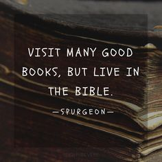 "Spurgeon Quote - ""Visit many books but live in the Bible."" Okay, as both a Christian and a book worm, I love this! Quotes Thoughts, Life Quotes Love, Great Quotes, Quotes To Live By, Inspirational Quotes, Awesome Quotes, The Words, Cool Words, Charles Spurgeon Quotes"
