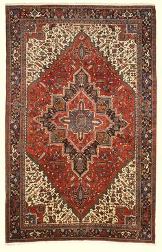 EORC X34312 Rust Hand Knotted Wool Heriz Rug