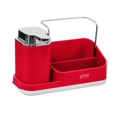 Dávkovač mydla s organizérom, červený 5five Simple Smart | Dekorácie do bytu Liquid Soap, Support, Organizer, Soap Dispenser, It Is Finished, Dimensions, Products, Interview, Color Red