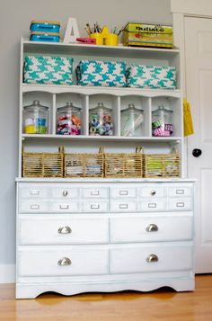 Making Over an Old Dresser for Craft Room Storage {ORC Week 3} - The Happy Housie