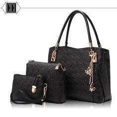 2016 new style women handbags leather handbag women messenger bags ladies brand designs bag Handbag+Messenger Bag+Purse 3 Sets #Affiliate