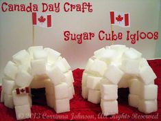 Sugar-cube igloo village, my boys would love this.