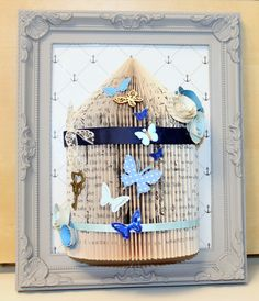 Unusual handmade gift personalised bird cage book fold art framed 10 x 8 (25)