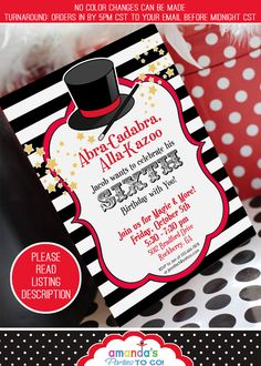 Magic Party Invitation | Magic Birthday Invitation | Magic Invitation Printable | Magician Invitation | Amanda's Parties To Go by AmandasPartiesToGo on Etsy https://www.etsy.com/listing/66728418/magic-party-invitation-magic-birthday