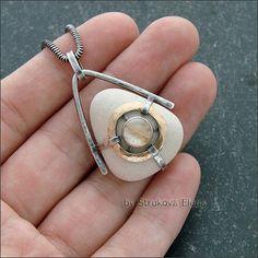 Кулон морской с рутиловым кварцем - Strukova Elena - авторские украшения