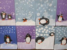 paint snow and then cut simple shapes to make penguins sliding on snow