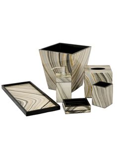 The Tucson Paper Lacquer Vanity Set Is Hand Poured High Gloss Lacquer Finish Over a Wood Base. Stunning!