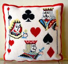 Vintage Needlepoint Pillow Playing Cards Queen by goodygirlred