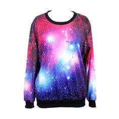 Choies Sweatshirt In Purple Galaxy Print (£22) ❤ liked on Polyvore featuring tops, hoodies, sweatshirts, shirts, sweaters, galaxy, long sleeves, purple, blue long sleeve shirt and galaxy print shirt