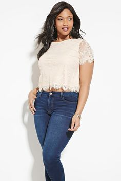 Forever 21+ - A semi-sheer knit lace top with scalloped eyelash lace trim, a round neckline, short sleeves, and beaded accents throughout.