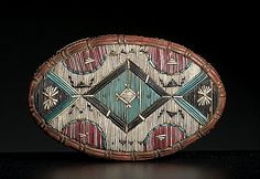 """late 19th century quilled in vivid colors of red, magenta, blue, black, purple, and white, checked pattern along sides of lid and multicolored chevrons around body, length 5"""" x width 3"""".  Ex John W. Painter Collection; First People's Museum of the American Indian and Eskimo"""