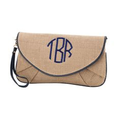 navy trim burlap initials purse.jpg #monogram #burlap #clutch #purse #personalized one of four colors available