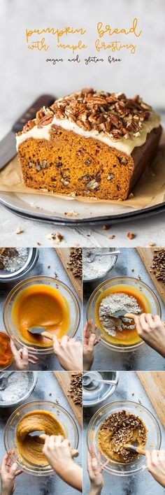 Vegan pumpkin bread with maple frosting - Lazy Cat Kitchen - Caroline Cobb Recipes Vegan Treats, Vegan Foods, Vegan Snacks, Vegan Dishes, Vegan Pumpkin Bread, Vegan Dessert Recipes, Bread Recipes, Vegan Thanksgiving, Pumpkin Recipes