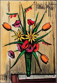 Bernard Buffet - Bouquet with Tulips Art Floral, Abstract Flowers, Abstract Art, Adult Art Classes, Art Français, Illustrator, Art Aquarelle, Fruit Painting, Plant Pictures