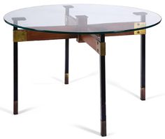 Ignazio Gardella; Wood; Brass Lacquered Metal and Glass Table, 1950s.