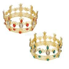 9.5cm Gold Plated Bridal Crystal Rhinestone King Crown Tiara Wedding Pageant  Metal Crown dbeb5aabb740