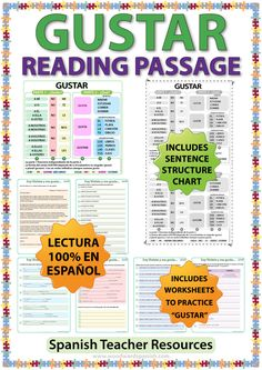 Spanish Reading using GUSTAR which includes comprehension questions and worksheets to practice the Spanish verb GUSTAR. Includes GUSTAR structure chart.