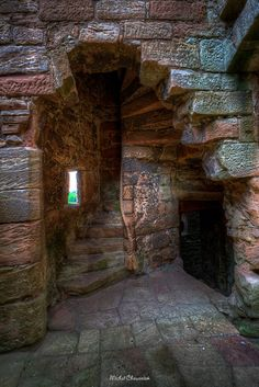 Old stone walls of Crichton Castle, Scotland