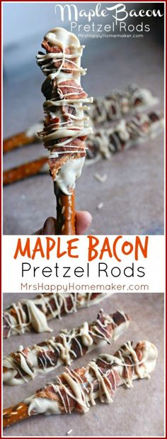 Homemade Maple Bacon Pretzel Rods are the perfect combination of sweet salty! This easy to make snack is a bacon lover's dream! Bacon Recipes, Snack Recipes, Dessert Recipes, Cooking Recipes, Pretzel Recipes, Candy Recipes, Dessert Ideas, Crockpot Recipes, Vegetarian Recipes