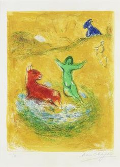 Marc Chagall (Russian/French, 1887-1985) The Wolf Pit, from Daphnis and Chloe (Mourlot 343; Cramer books 46) Lithograph printed in colours, 1961, on Arches, signed and numbered 19/60 in pencil, printed by Mourlot, Paris, published by Tériade, Paris, with full margins, 417 x 320mm (16 1/4 x 12 5/8in) (I)