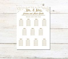 Sizes Editable Wedding Seating Chart Template  Pdf Instant