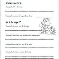 une fiche pour vérifier que  les élèves se repèrent dans le livre et sur la page. Il faut recopier des mots et des phrases en suivant des consignes.