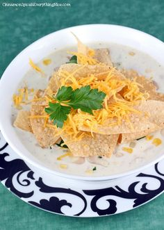White Chicken Cream Cheese Chili ---note there is cream cheese in this - -- a nice addition to a great white chili recipe.