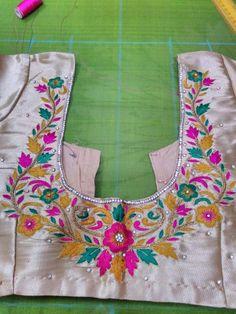 To buy, pls whatsapp on 9618821933 Zardozi Embroidery, Embroidery Works, Hand Embroidery Designs, Blouse Designs Silk, Designer Blouse Patterns, Kurta Designs, Mirror Work Saree Blouse, Work Blouse, Maggam Work Designs