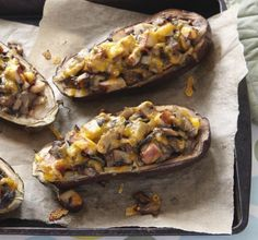 Recipe for Turkey-Stuffed Eggplant (serves - Enjoy this recipe from Almanac Cooking Fresh. Note: The stuffing used to fill eggplant could also be used to fill tomatoes or peppers. Turkey Recipes, Paleo Recipes, Cooking Recipes, Vegetable Dishes, Vegetable Recipes, Potato Sides, Fruits And Veggies, Vegetables, Eggplant Recipes