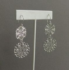 Dangling Filigree Earrings with Sterling Silver Hooks, E 201.  $22 on Etsy, could make these into two different pairs?