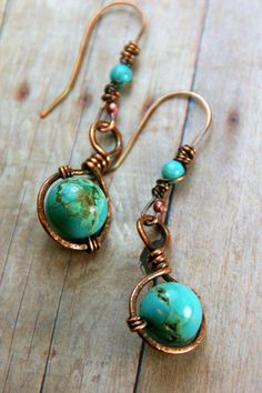 Rustic Hammered Copper and Turquoise Dangle by AllowingArtDesigns, $22.00