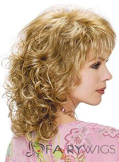 Shoulder length cut with soft spiral curls and straight bangs Blonde Curly Wig, Curly Hair With Bangs, Curly Wigs, Long Curly Hair, Hairstyles With Bangs, Layered Hairstyles, Medium Curly, Medium Hair Styles, Curly Hair Styles