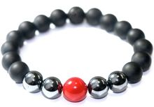 "#2 BOYBEADS ""Cassius"" 10mm matte black onyx, red coral, hematite bead bracelet"